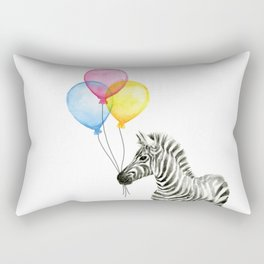 Zebra with Balloons Watercolor Baby Animals Rectangular Pillow