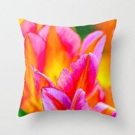 Brilliant Tulip Flowers Throw Pillow
