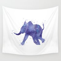 baby elephant Wall Tapestries featuring Baby Elephant by Carma Zoe