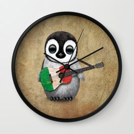 Baby Penguin Playing Italian Flag Guitar Wall Clock