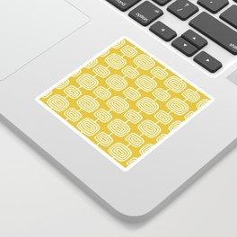 Mid Century Modern Atomic Rings Pattern Mustard Yellow Sticker