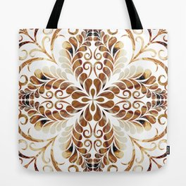 Brown and gold flourish pattern Tote Bag