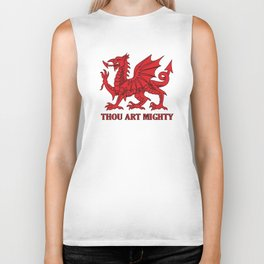 Thou Art Mighty Red Dragon Welsh Rugby Biker Tank