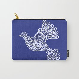 Peace, Dove, White on Blue Carry-All Pouch