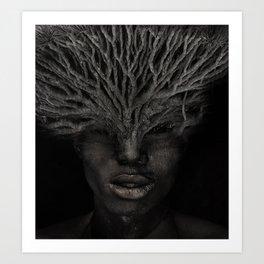 Tree man. Double exposure portrait by T.Amrein Art Print