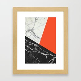 Black and White Marble with Pantone Flame Color Framed Art Print