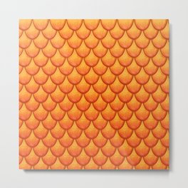 Fish Scales - Orange Version Metal Print