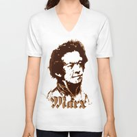 marx V-neck T-shirts featuring Karl Marx by @DrunkSatanRobot