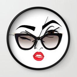 Wink eye, red lips Wall Clock
