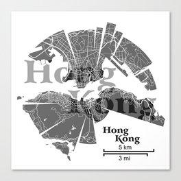 Hong Kong Map Canvas Print