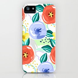 Flowers red pattern iPhone Case