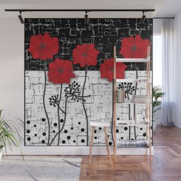 Retro. Red poppies on white background sulfur. Applique. Wall Mural