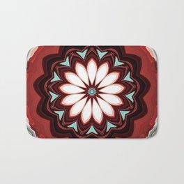 Decorative Deep Red and White Flower Design Bath Mat