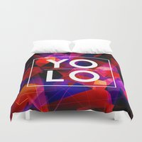 sayings Duvet Covers featuring Dreams of YOLO Vol.2 by HappyMelvin