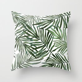 Watercolor simple leaves Throw Pillow