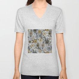 Elegant Girly Gold & Silver Glitter Floral Design Unisex V-Neck