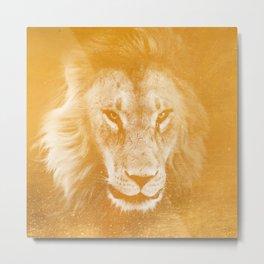 Lion On Gold Metal Metal Print