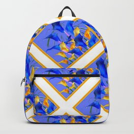 PATTERNED MODERN ABSTRACT BLUE & GOLD CALLA LILIES Backpack