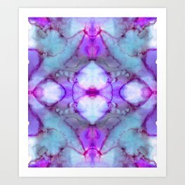 Pale Blue and Violet Abstract Art Print