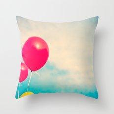 High (Red balloons) Throw Pillow