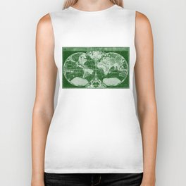 World Map (1691) Green & White  Biker Tank