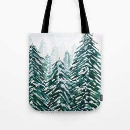 snowy pine forest in green Tote Bag