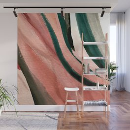 Spring in the City - a pretty mimimal watercolor abstract piece in pinks and greens Wall Mural