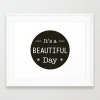 u2 Framed Art Prints featuring It's a beautiful day - U2 / QUEEN song title by Little Fish Creations