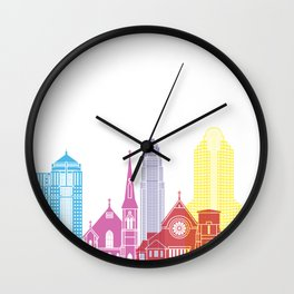 Charlotte skyline pop Wall Clock