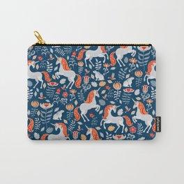 Unicorns, rabbits, birds, flowers. Decorative seamless pattern. Folk art. Carry-All Pouch