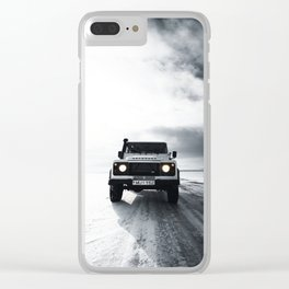 landrover defender in iceland Clear iPhone Case