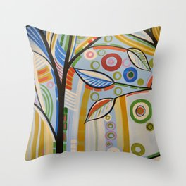 Abstract Art Landscape Tree Painting ... The Sound of Sunshine 2 Throw Pillow