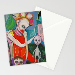 How a bunny explains an artist garden`s pleasure Stationery Cards