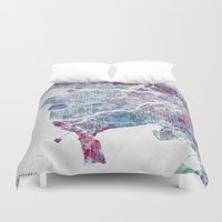 vancouver Duvet Covers featuring Vancouver map by MapMapMaps.Watercolors