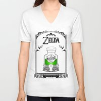 the legend of zelda V-neck T-shirts featuring Zelda legend - Green potion  by Art & Be
