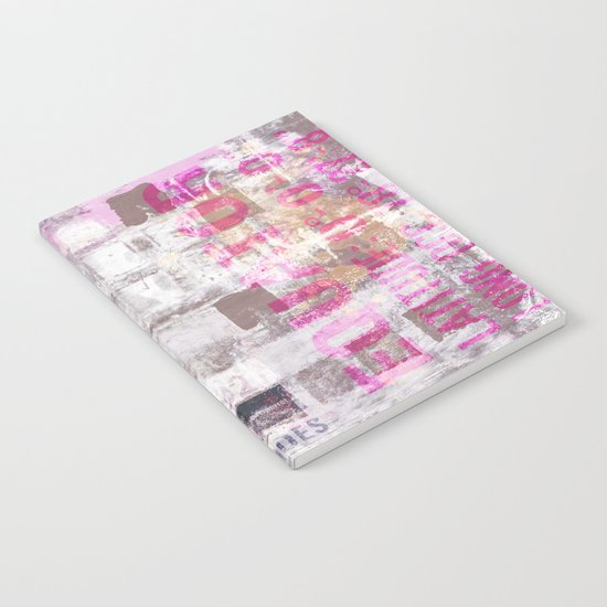 Abstract grunge Squares pating with typography Notebook