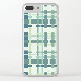 Woven design teal blue and green Clear iPhone Case