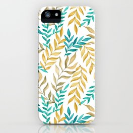 Tropical leaves (yellow and blue). Watercolor iPhone Case