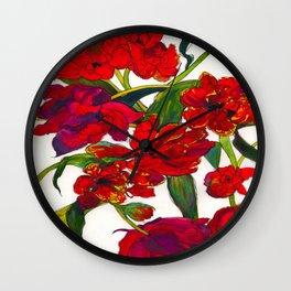 Inky Tulips Wall Clock