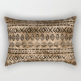 Ancient  Gold and Black Tribal Ethnic  Pattern Rectangular Pillow