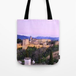 La Alhambra, Sierra Nevada and Granada. At pink sunset Tote Bag
