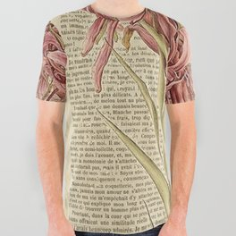 Book Art Page Pink Flower All Over Graphic Tee