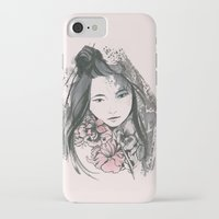 viria iPhone & iPod Cases featuring pale flowers by viria