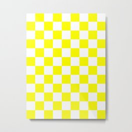 Checkered - White and Yellow Metal Print