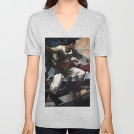 """Pirate Attack"" by Frank E Schoonover Unisex V-Neck"