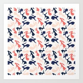 Abstract Rabbits Pattern Art Print