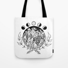 Moon Phases over Mountains Tote Bag