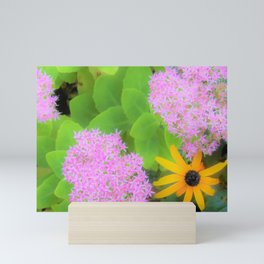 Succulent Hot Pink Sedum and Yellow Rudbeckia Mini Art Print