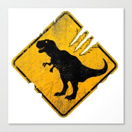 T-Rex Crossing Sign Canvas Print