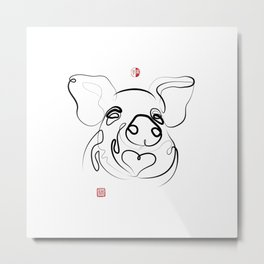 Pig Art, Chinese New Year of the Pig, Original Zen Sumi e ink Painting Metal Print
